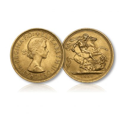 Image of the Queen Elizabeth II Gold Sovereign of 1957