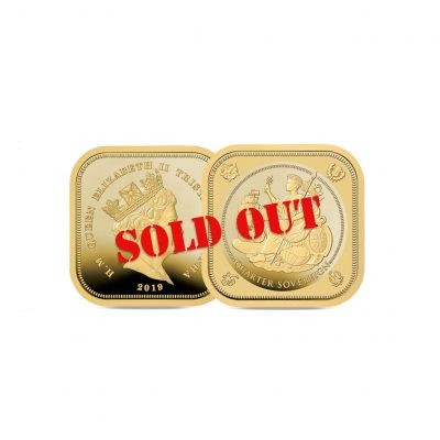 Image of the 2019 Four Sided Quarter Sovereign with SOLD OUT stamped across it