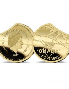 Image of the 2019 Heroes of Omaha Beach Gold Sovereign celebrating D-Day