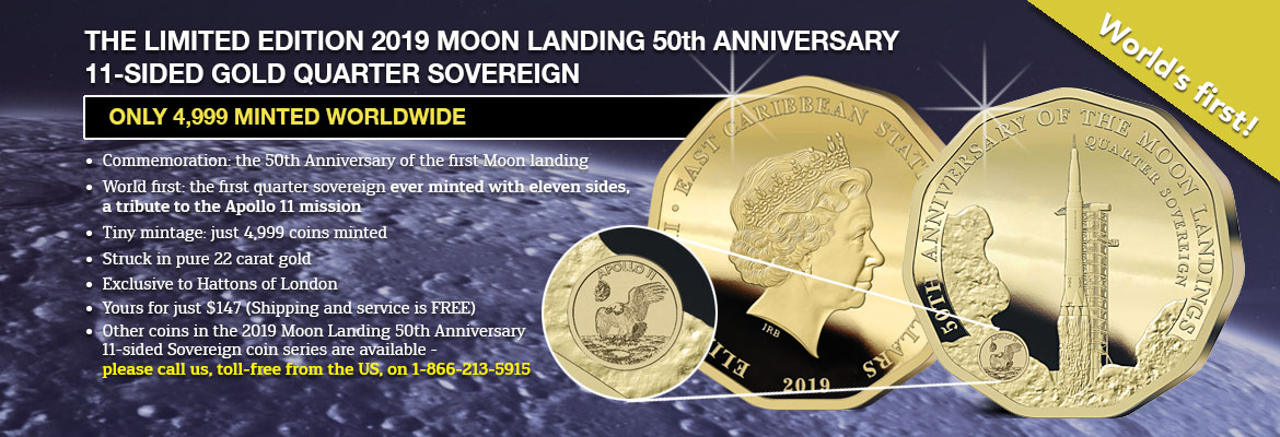 Banner showing The 2019 Moon Landing 50th Anniversary Gold Quarter Sovereign
