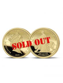 The 2019 Queen Victoria 200th Anniversary 24 Carat Gold Quarter Sovereign image with SOLD OUT across the coin
