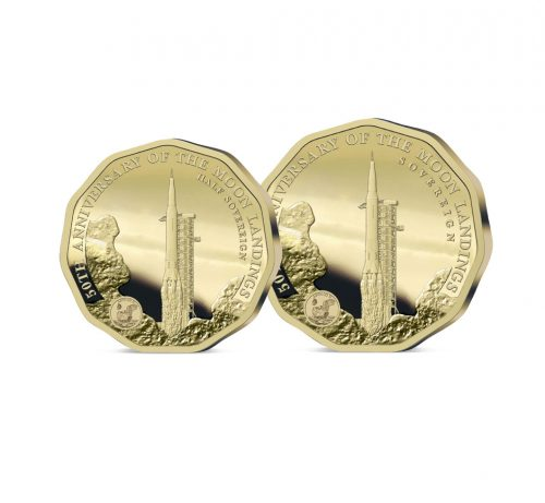 The 2019 Moon Landing 50th Anniversary Gold Half and Full Sovereign Set