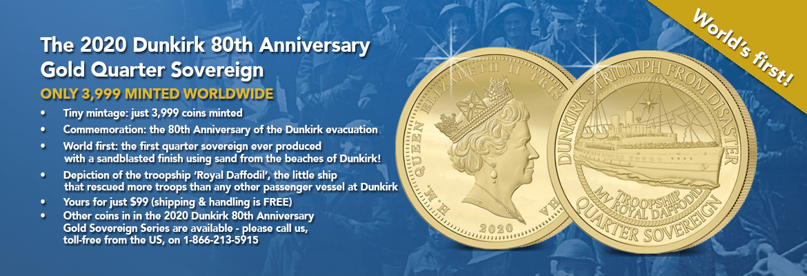 The 2020 Dunkirk Anniversary Gold Quarter Sovereign