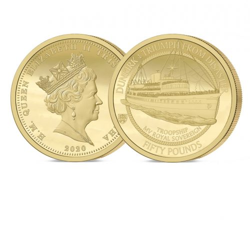 The 2020 Dunkirk 80th Anniversary Gold Fifty Pound Sovereign
