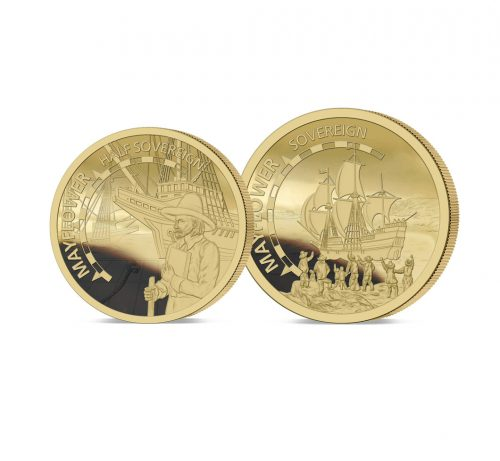 The 2020 Mayflower 400th Anniversary Gold Half and Full Sovereign Set