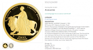 The 2019 Queen Victoria 200th Anniversary Gold Fifty Pound Sovereign Auction