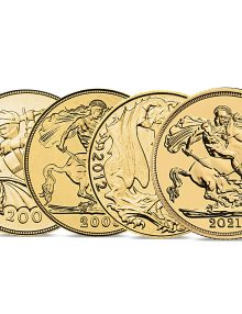 THE QUEEN ELIZABETH II ST GEORGE 200TH ANNIVERSARY GOLD SOVEREIGN SET OF 2005, 2008, 2012 AND 2021