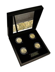 THE QUEEN ELIZABETH II ST GEORGE 200TH ANNIVERSARY GOLD SOVEREIGN SET OF 2005, 2008, 2012 AND 2021 DISPLAY