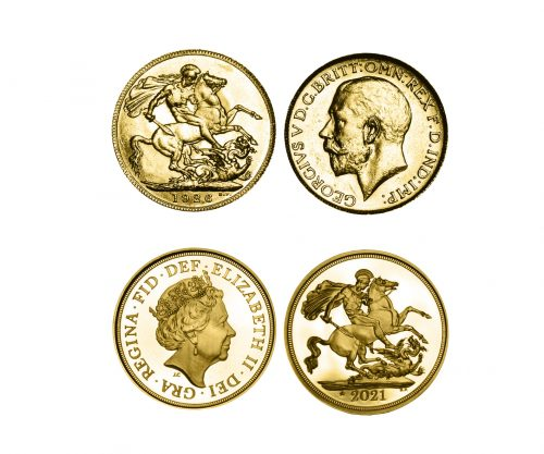 The Queen Elizabeth II 95th Birthday Gold Sovereign Pair of 1926 & 2021.