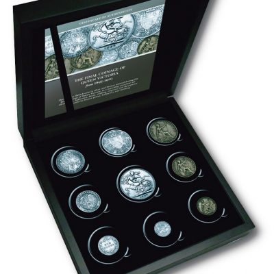 Queen Victoria Veiled Portrait Silver & Bronze Set