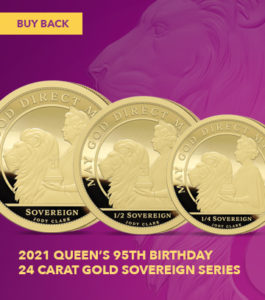 The 2021 Queen's 95th Birthday Gold Sovereign Range Buy Back Offers Banner